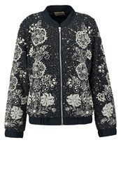 Lace And Beads Renee Bomber Jacket Navy Dark Blue