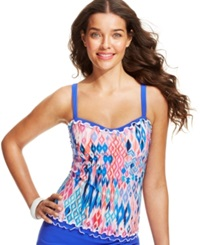 Profile By Gottex Printed D Cup Ruffle Trimmed Tankini Top Women's Swimsuit