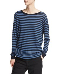 Vince Oversized Multi Stripe Pullover Navy