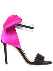 Alexandre Vauthier 100Mm Satin Sandals W Bow Black Fuchsia