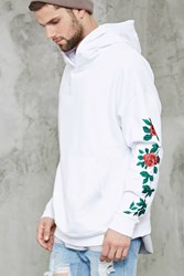 Forever 21 Floral Embroidery Hoodie White Green