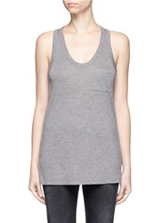 Alexander Wang Classic Scoop Neck Pocket Tank Top Grey