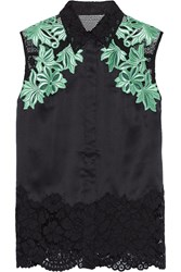 3.1 Phillip Lim Mesh Paneled Satin And Guipure Lace Top Green