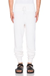 Baja East Cashmere Fisherman Rib Sweatpants In White