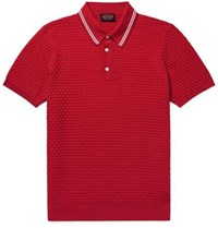 Tod's Slim Fit Contrast Tipped Basketweave Stretch Cotton Polo Shirt Red