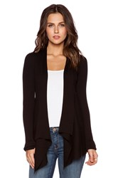 Autumn Cashmere Solid Rib Drape Cardigan Black
