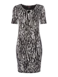 Simon Jeffrey Monochrome Keyhole Dress Black