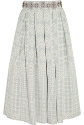Holly Fulton Embellished Silk Crepe Skirt Blue