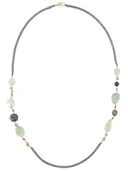 Gemco Diamond Pearl And Stone Beaded Long Necklace Metallic