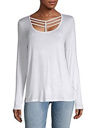 Andrew Marc New York Cutout Long Sleeve Top White