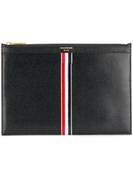 Thom Browne Vertical Intarsia Stripe Small Leather Tablet Holder Black