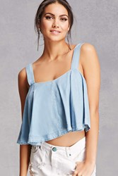 Forever 21 Chambray Flowy Crop Top Denim Washed