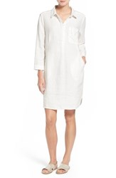 Women's Caslon Linen Shirtdress Ivory Cloud