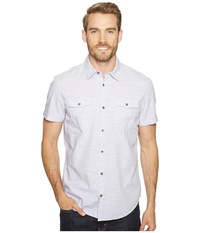 Calvin Klein Jeans Cross Hatch Slub Button Down Shirt Evening Haze Men's Short Sleeve Button Up White
