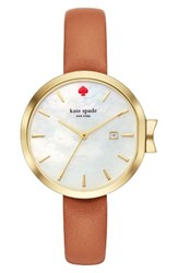 Kate Spade Women's New York Park Row Leather Strap Watch 34Mm Brown Mother Of Pearl Gold