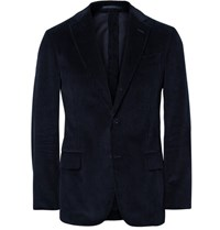 Massimo Piombo Mp Blue Slim Fit Unstructured Cotton Corduroy Blazer Navy