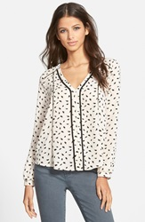Astr V Neck Print Top Ivory