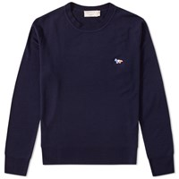 Maison Kitsune Virgin Wool Crew Knit Blue