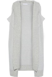 Duffy Woman Layered Wool Blend Hooded Vest Stone