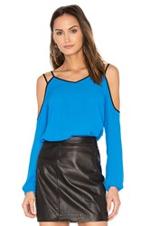 1.State Cold Shoulder Blouse Blue