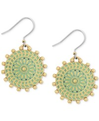 Lucky Brand Gold Tone Patina Circular Drop Earrings