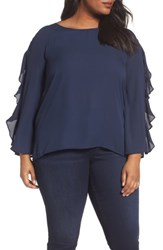London Times Plus Size Women's Ruffle Bell Sleeve Blouse Navy