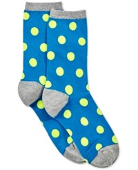 Hot Sox Large Polka Dot Crew Socks Dark Blue