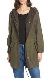 Levi's Cotton Hooded Fishtail Coat Army Green