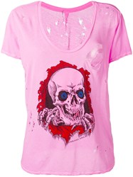 Unravel Project Skull Print T Shirt Pink Purple