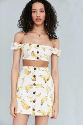 Cooperative Nanners Off The Shoulder Button Crop Top Yellow