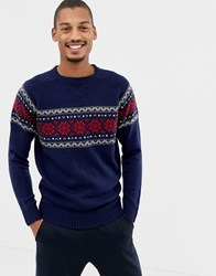 D Struct Fair Isle Raglan Jumper Navy