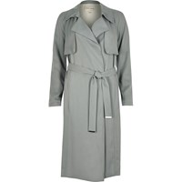 River Island Blue Grey Draped Trench Coat