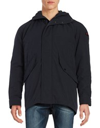 Strellson Franklyn Hooded Qulit Lined Coat Dark Blue