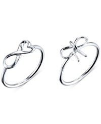 Unwritten Infinity And Bow Ring Set In Sterling Silver