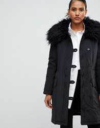 French Connection Utility Parka Coat With Fur Neck Black