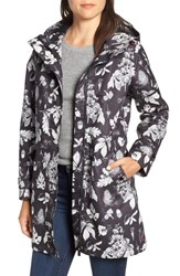 Joules Right As Rain Longline Print Coat Black Etched Botanical