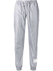Thom Browne Rwb Stripe Ripstop Track Pants Grey