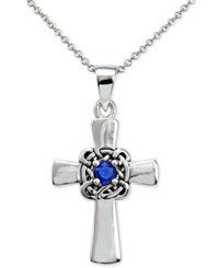 Macy's Blue Crystal Celtic Cross Pendant Necklace In Sterling Silver