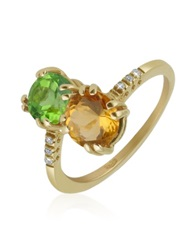 Forzieri Double Gemstone And Diamond Yellow Gold Ring