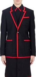 Givenchy Grosgrain Trimmed Flannel Two Button Sportcoat Black