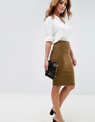 Asos High Waisted Pencil Skirt Olive Green