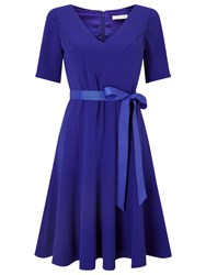 Jacques Vert Crepe Fit And Flare Dress Mid Blue