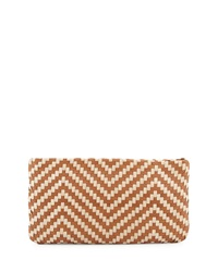 Christopher Kon Two Tone Woven Clutch Bag Tobacco Taupe