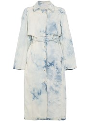 Esteban Cortazar Bleach Trench Coat Cotton Spandex Elastane Blue