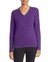 Lord And Taylor Plus Merino Wool Basic V Neck Sweater Acai
