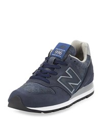 New Balance Men's 996 Distinct Age Of Exploration Suede Leather Sneaker Navy Silver Navy Silver