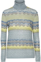 Missoni Crochet Knit Turtleneck Sweater Gray