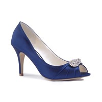 Paradox London Pink Cassiana High Heel Peep Toe Shoes Blue