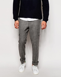 Asos Slim Fit Trousers In Tweed With Cargo Pockets Grey