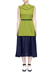 Toga Archives Embellished Layered Vest Belted Dress Yellow